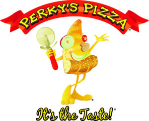 Perky's Pizza Logos with tagline T